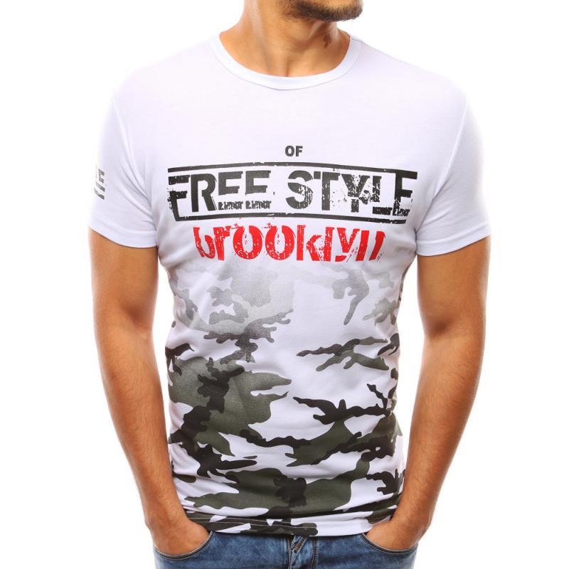 558733290f75 Pánské bílé tričko s potiskem camo STYLE