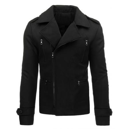 Pánský stylový zimní černý kabát se zipem