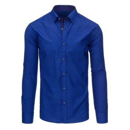 Modrá pruhovaná pánská košile s dlouhým rukávem