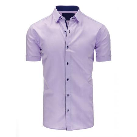 Pánská košile elegantní s krátkým rukávem fialová