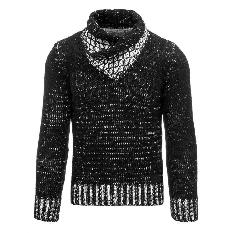 bd8ab49db6b Praktický a teplý pánský svetr do v černý
