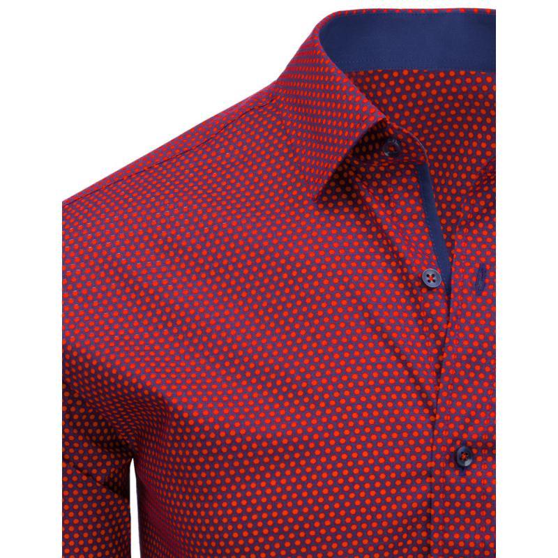 d569d579ea9 Červená vzorovaná pánská košile s dlouhým rukávem