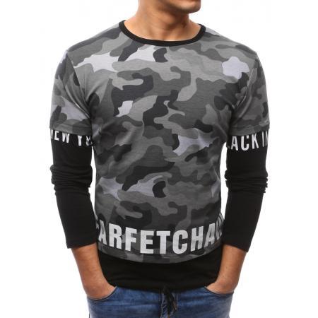 85ed5219a20 Pánské šedé maskáčové tričko s dlouhým rukávem