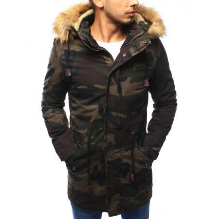 Pánská bunda parka zimní woodland maskáčová