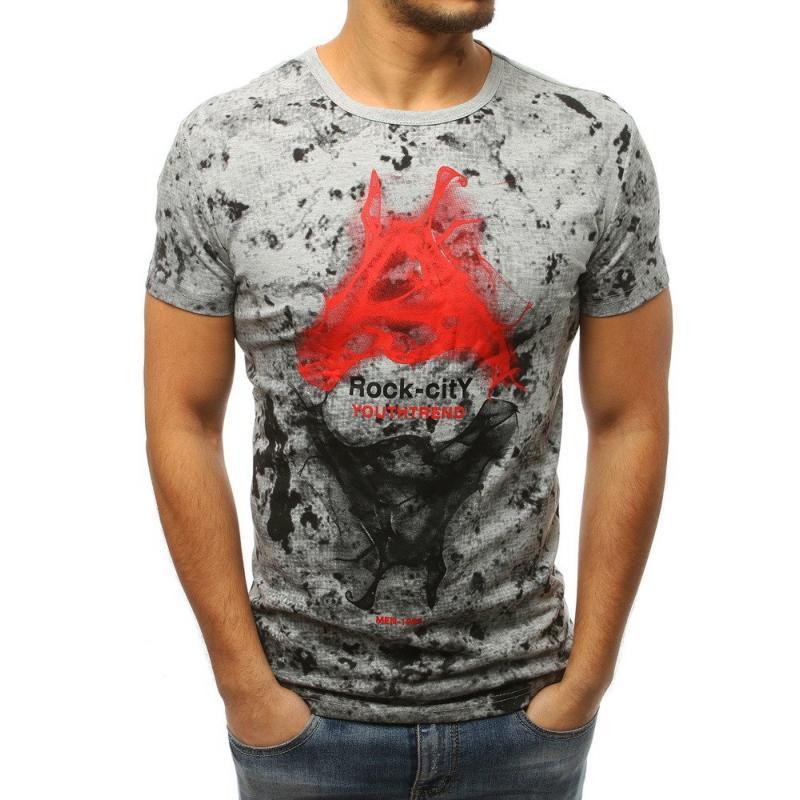 bd4d0f0716ab Pánské ELEGANT tričko s potiskem světle šedé