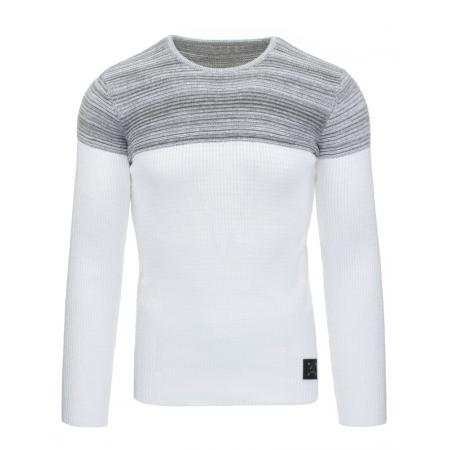 Pánský moderní svetr bílo šedý