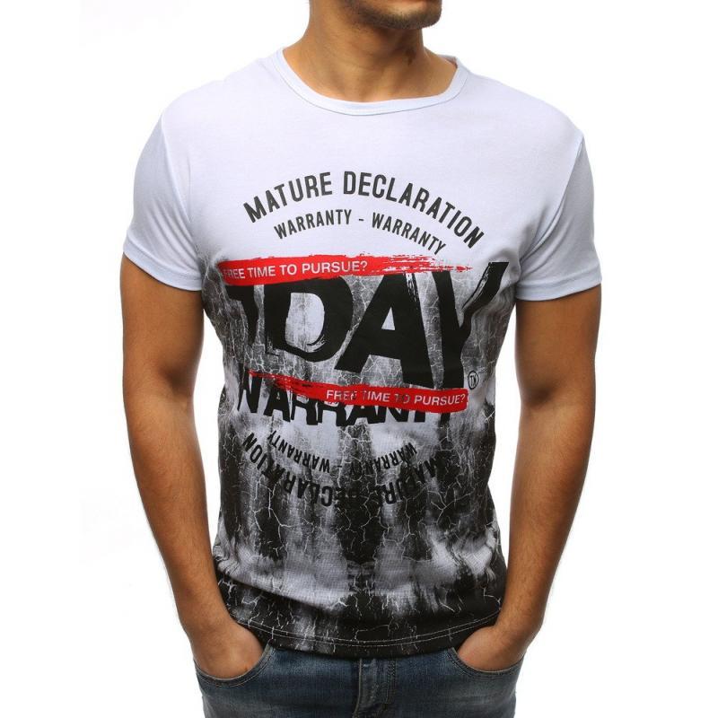 Pánské stylové tričko s potiskem bílý  204511ec75