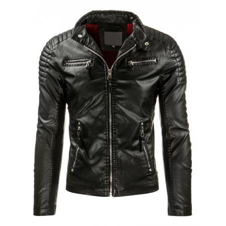 Pánská černá kožená bunda v pohodlném střihu