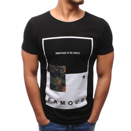 Pánské černé tričko se zipem a kulatým výstřihem