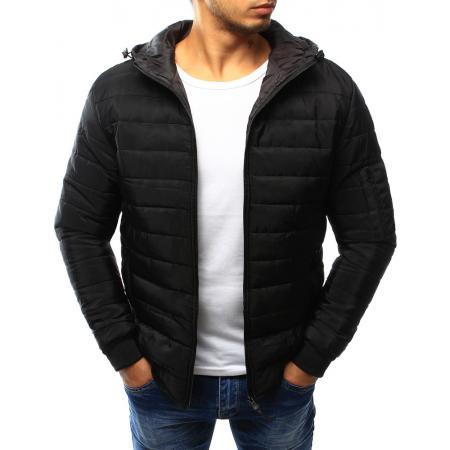 Pánská bunda prošívaná s kapucí černá