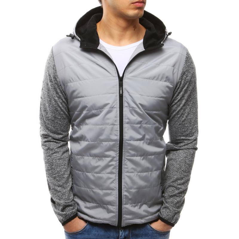 950b1848bca Pánská moderní bunda s kapucí šedá