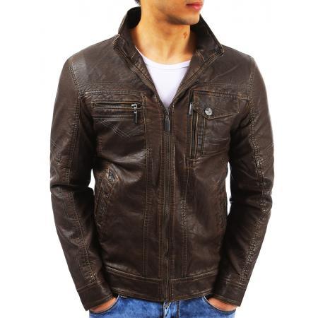Pánská stylová kožená bunda hnědá