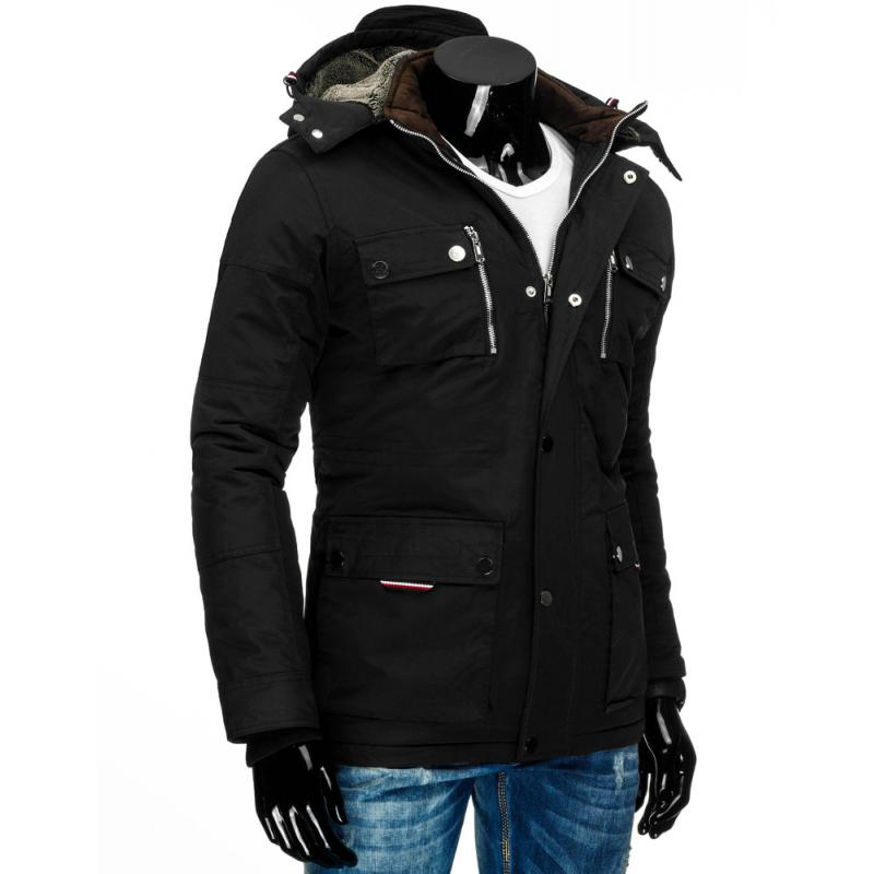 Pánská zimní bunda s kapucí černá  ec616725a60