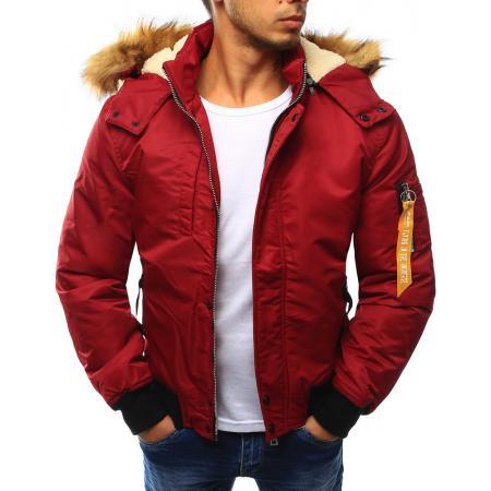 Bunda pánská zimní s kapucí červená
