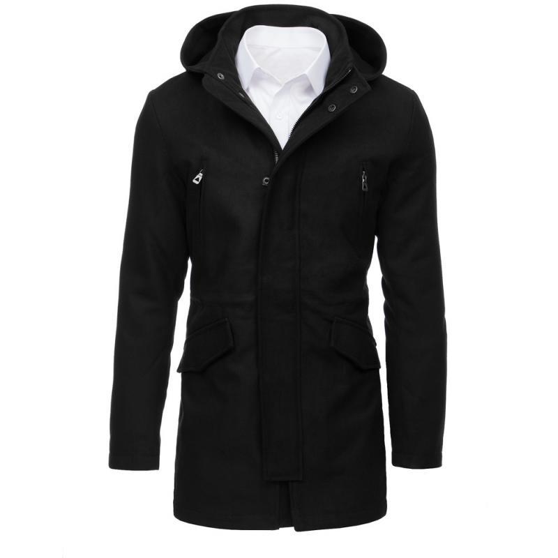 f9e2f173a1b Pánský kabát STYLE s kapucí černý