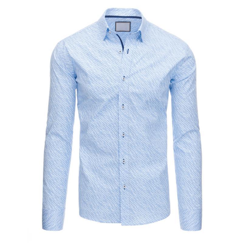 Světle modrá pánská košile se vzorem s dlouhým rukávem  4c5c2b297e
