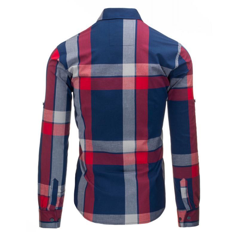 Modro-červená pánská košile kostkovaná  9f5efe67e1