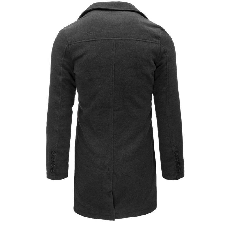 Tmavě šedý pánský kabát  2c958a8d44