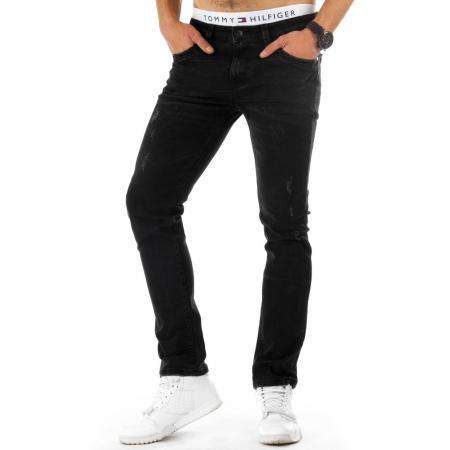 Pánské džínové (jeansové) kalhoty černé s prodřením