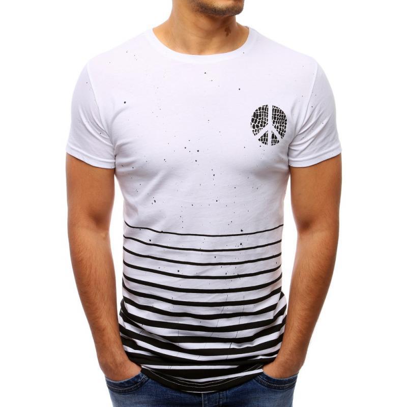 bd9b2e0483de Pánské bílé tričko s potiskem a kulatým výstřihem