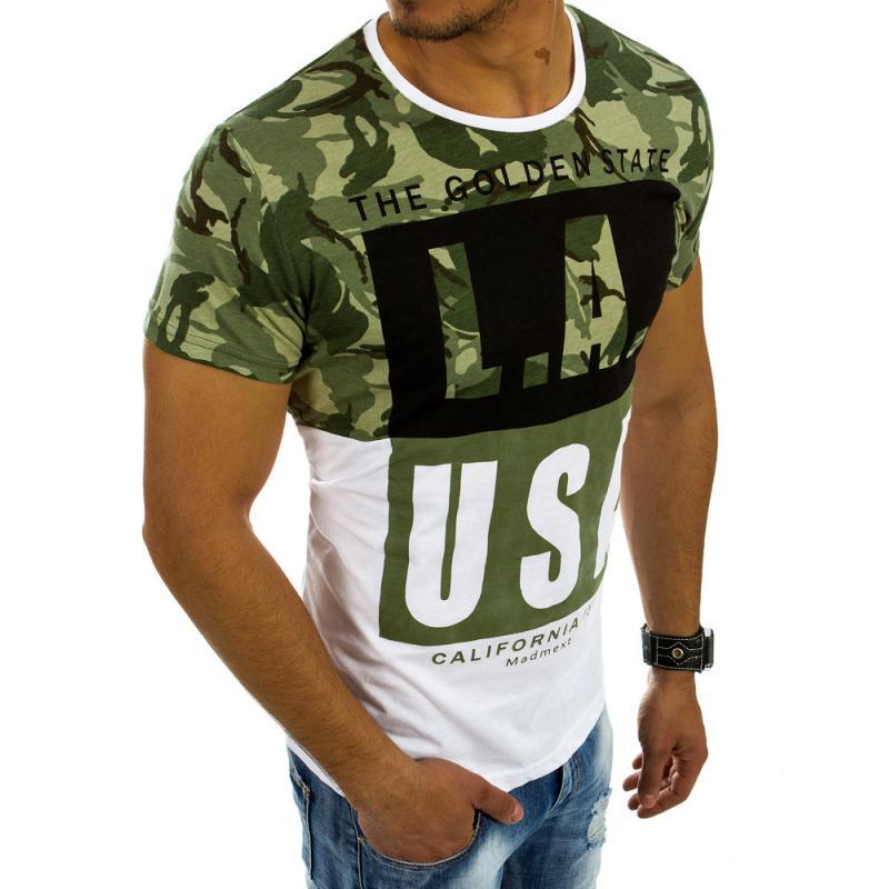 Pánská tričko s potiskem maskáčové - kamuflážní bílé  f1d1c391a04