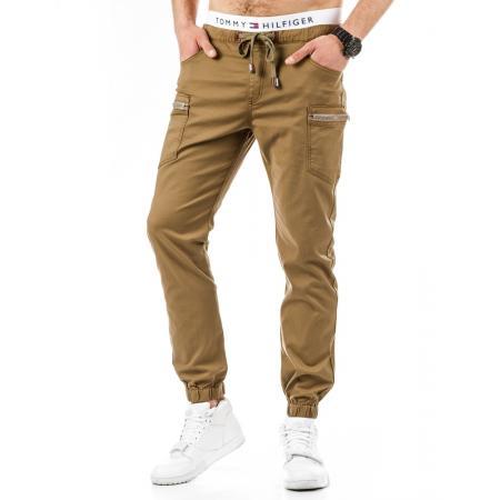 Módní pánské sportovní chino kalhoty hnědé