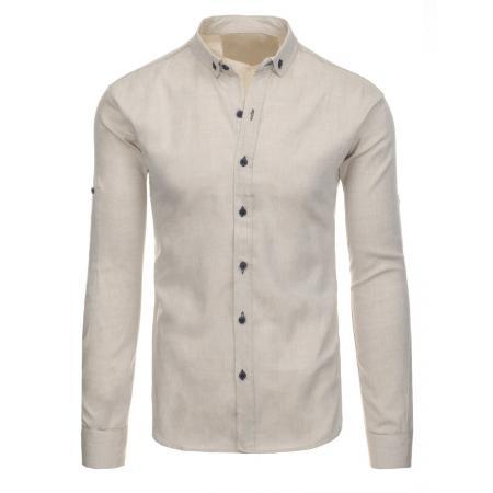 Béžová pánská košile s dlouhým rukávem