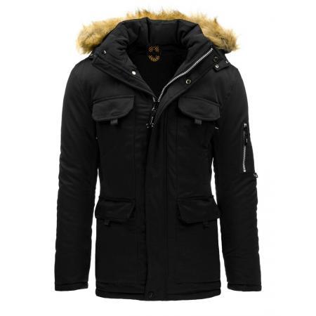 Pánská zimní bunda s kapucí černá (parka)