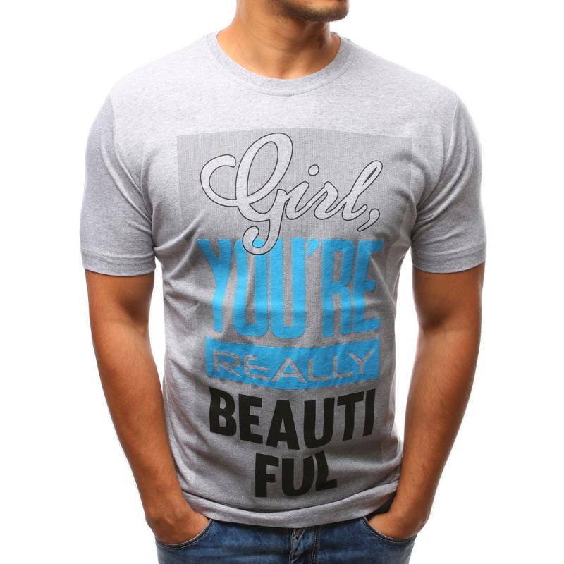 4e0d0bc18a70 Pánské tričko s potiskem (triko) šedé