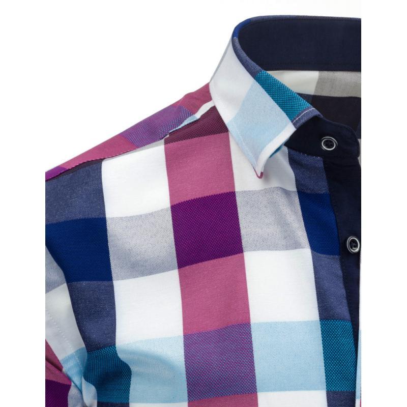 2c299f5f28f Fialovo-modrá pánská košile kostkovaná