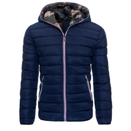 Pánská stylová prošívaná bunda s kapucí modrá