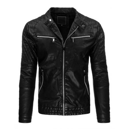Pánská stylové černá kožená bunda na zip