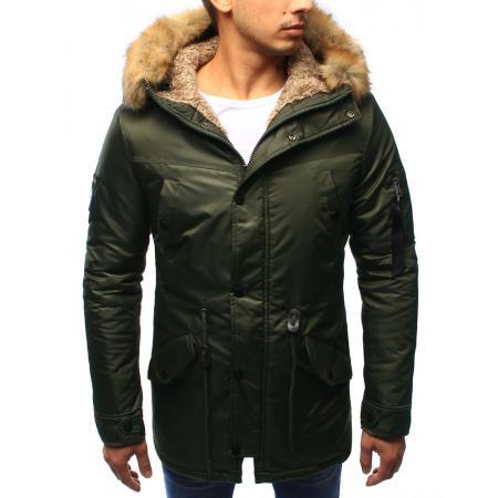 Pánská bunda zimní s kapucí khaki
