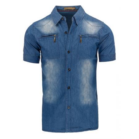 Pánská košile jeansová s krátkým rukávem 29ec68b963