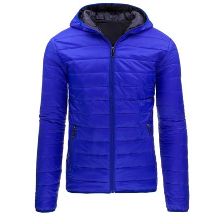 Pánská moderní prošívaná bunda s kapucí modrá