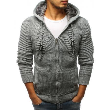 b02af1ff8e7 Pánský svetr rozepínací s kapucí šedý STYLE