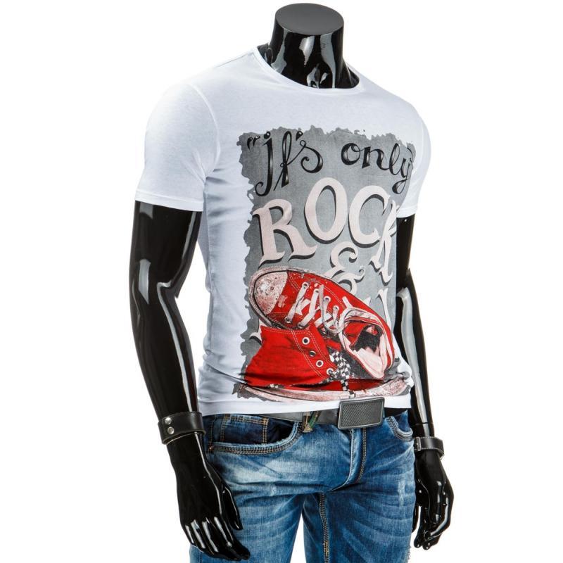 Šedé stylové pánské tričko s potiskem (triko) bílé  d2e420ef7f