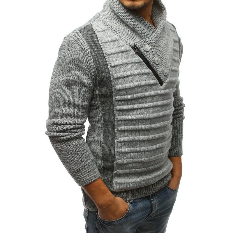 Pánský svetr šedý s knoflíky a zipem STYLE  5eb0b5d7c2