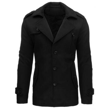 Pánský moderní černý zimní kabát