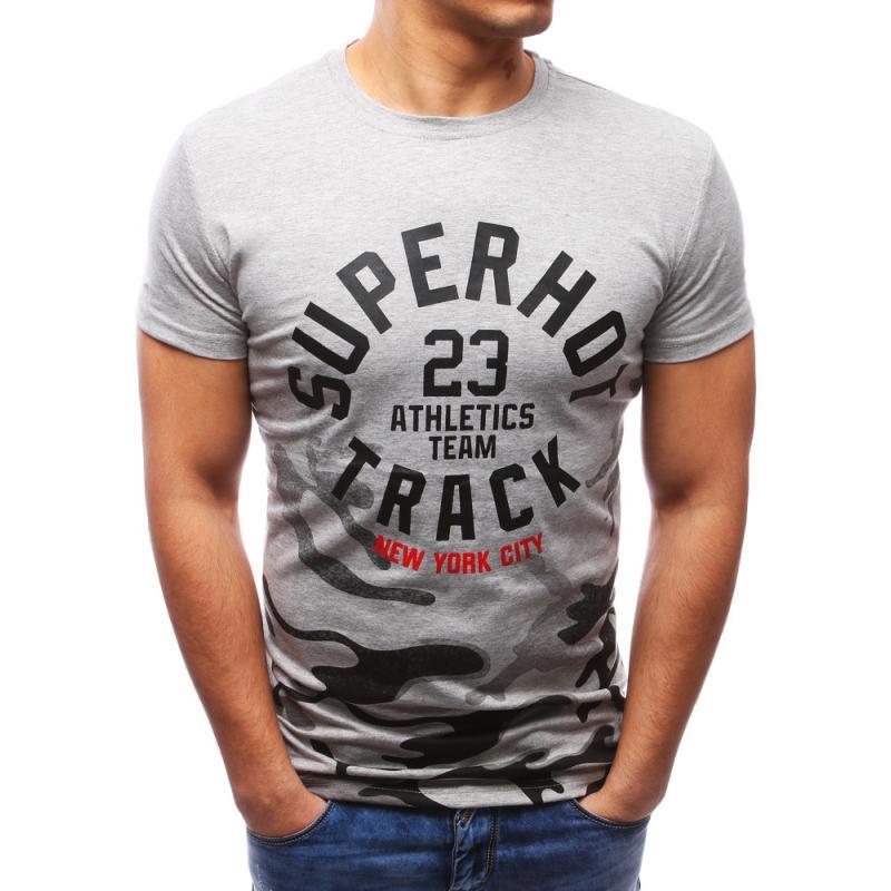 a7dc4a530086 Pánské tričko s potiskem šedé