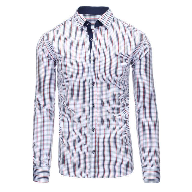 Bílá pánská košile mřížkovaný vzor s dlouhým rukávem slim fit ... 5d856e0318