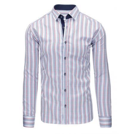 Bílá pánská košile mřížkovaný vzor s dlouhým rukávem slim fit 665ff874d4