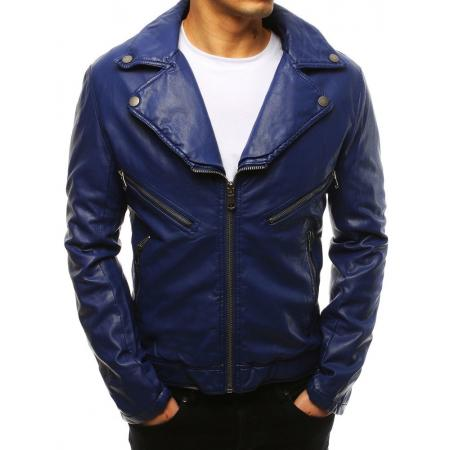 Pánská modrá bunda koženka
