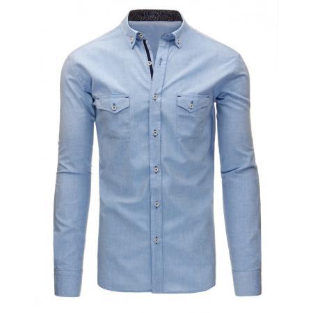 Světle modrá pánská košile s dlouhým rukávem