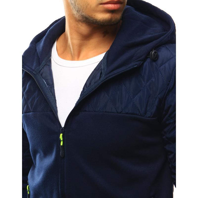 Pánská bunda prošívaná s kapucí tmavě modrá  6db436cda2d