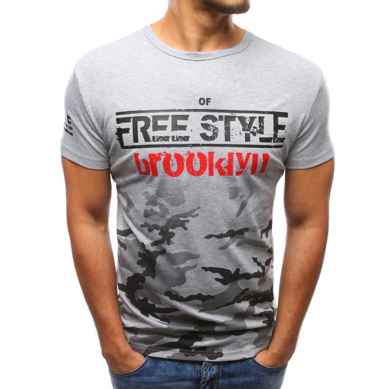 9214f0e6513 Pánské šedé tričko s potiskem camo STYLE