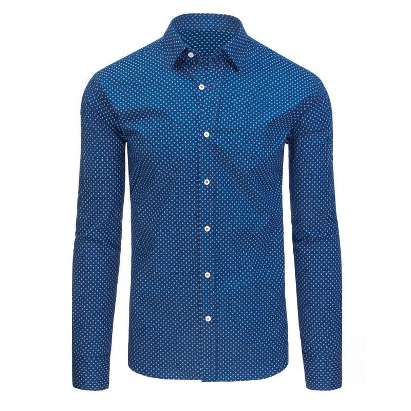 Modrá vzorovaná pánská košile s dlouhým rukávem  c418e3f0b2