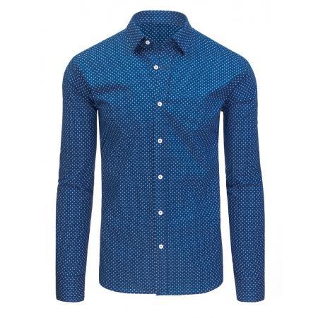 1dffbf281a3 Modrá vzorovaná pánská košile s dlouhým rukávem