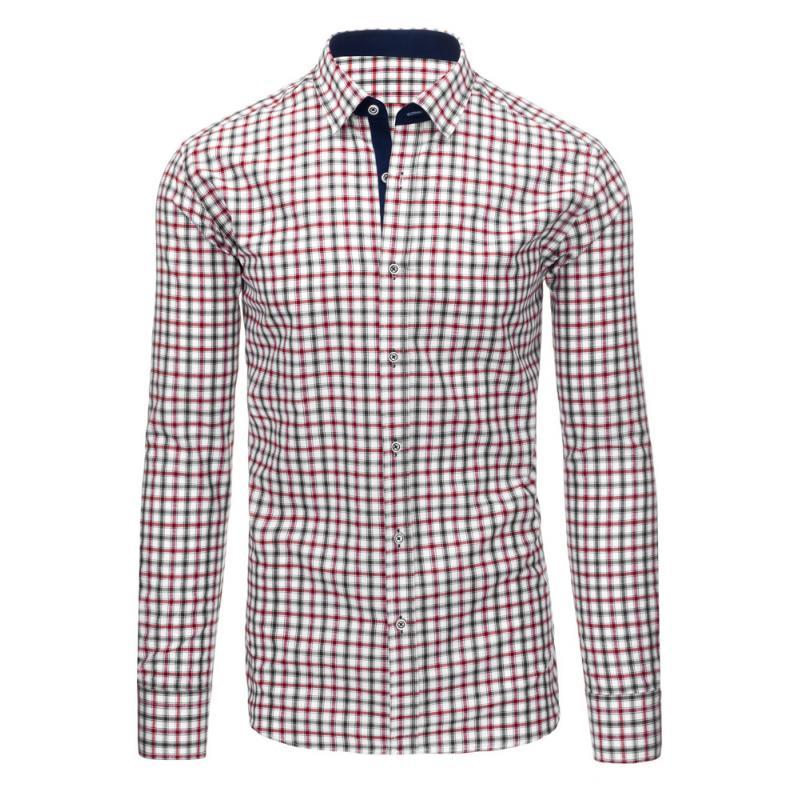 f52cd313afd2 Bílá pánská košile mřížkovaný vzor s dlouhým rukávem slim fit ...