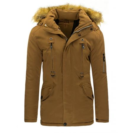Pánská stylová zimní bunda karamelová